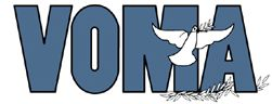 Small VOMA Logo. Logo is initials VOMA with a dove carrying an olive branch. Colors blue-gray and white. The web page is white surrounded by the same blue-gray color. - jpg - 6481 Bytes